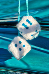 classic, car, automobile, fuzzy, dice, Blue,