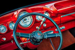 classic, car, automobile, Ford, dashboard, steering wheel